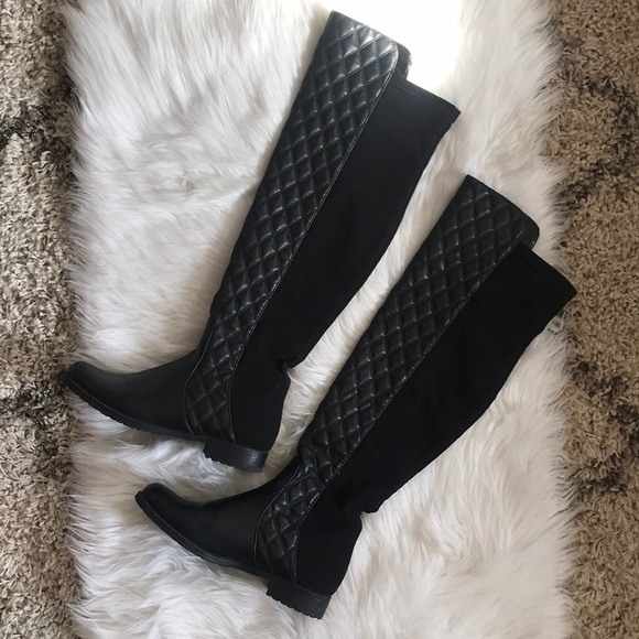 Black Quilted Over The Knee Boots Unisa